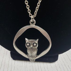 Norsk Tinn Norway Pewter Owl Pendant Necklace